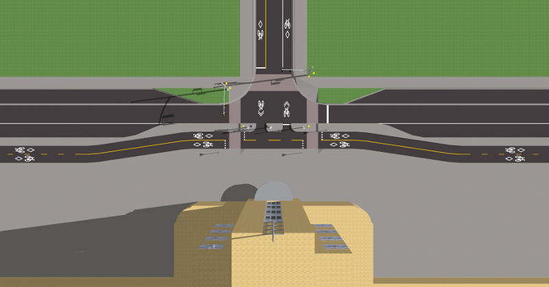Rendering of Hunter Street bike lanes at GO station, overhead view