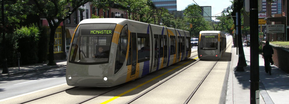 Rendering of light rail transit on King Street (Image Credit: City of Hamilton)