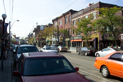 Little Italy, one of Toronto's artistic hot spots: other than the streetcar tracks (ouch!), this could be James St. North in Hamilton