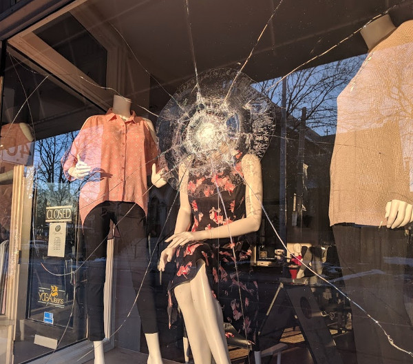 Smashed window at Pippa & Prue