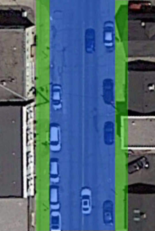 Locke Street South, just north of Tuckett Street. Blue area is dedicated for cars, green area for everything else (Image Credit: Google Maps)