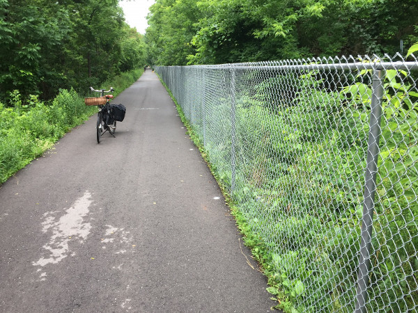 New fence along the south side of the Escarpment Rail Trail