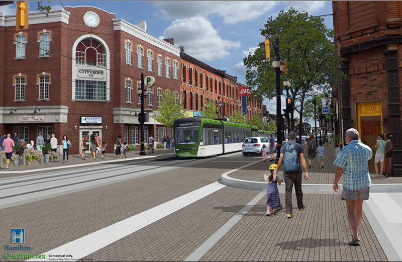 Hamilton LRT rendering at King and Walnut