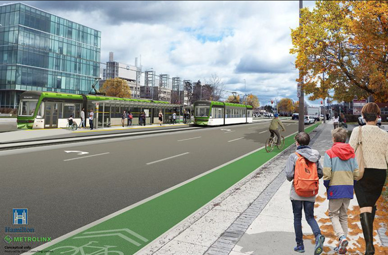 LRT rendering on Main Street West at McMaster University