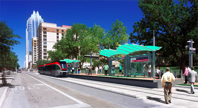 LRT station in downtown Austin