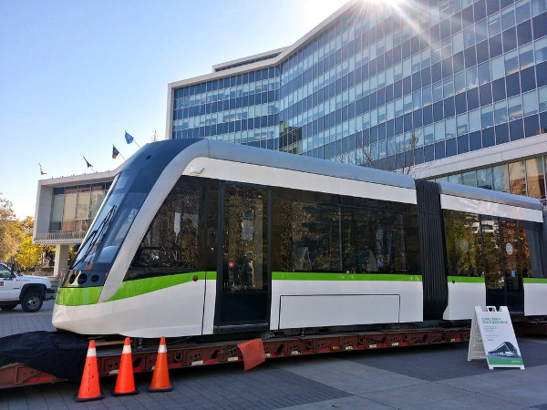 Metrolinx LRT vehicle on display in front of Hamilton City Hall (RTH file photo)