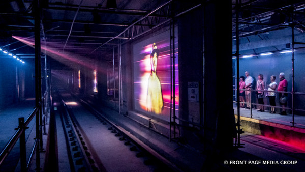 Lyon LRT Station platform level still under construction but graphically showing the station's width during the Kontinuum Sound and Light Show in 2017 during the Canada 150 celebrations. (Image Credit: Front Page Media Group)