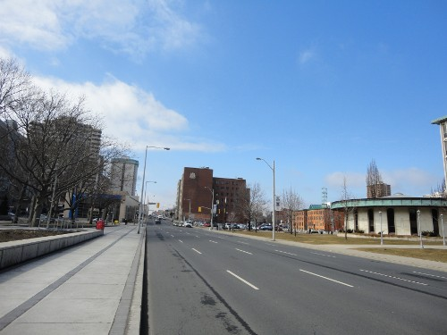 Main Street: five-lane highway running through downtown Hamilton