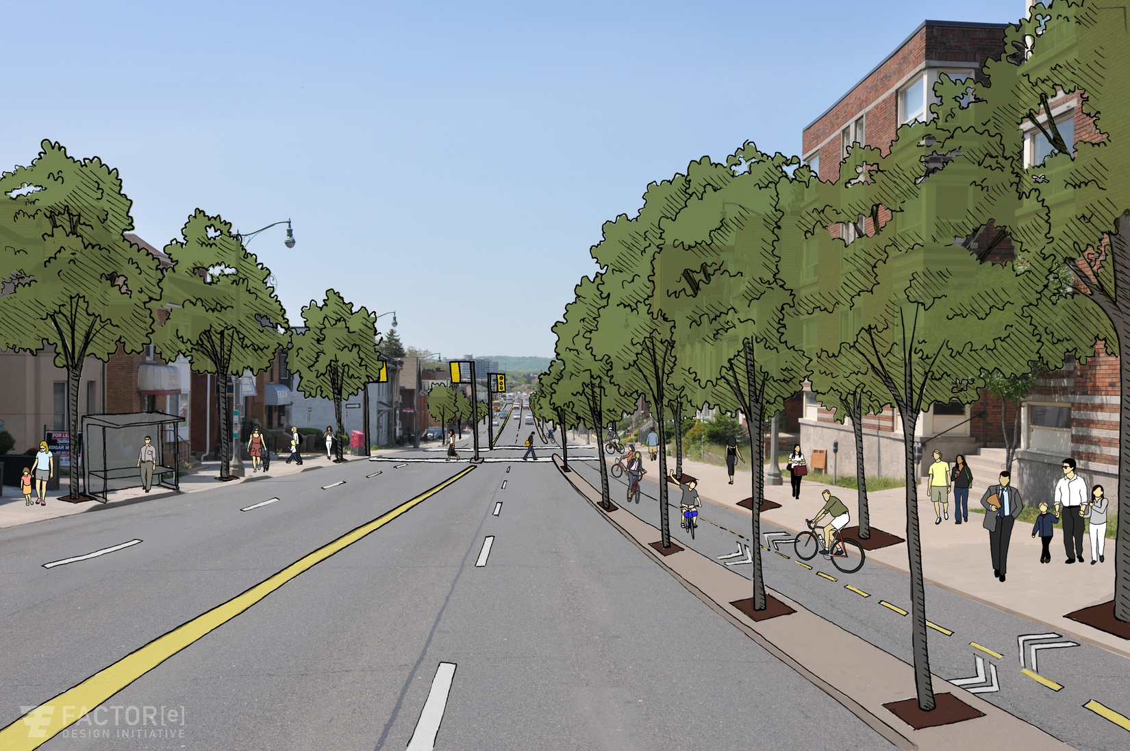 Main Street West re-imagined, looking west from Queen Street. Click ... Street