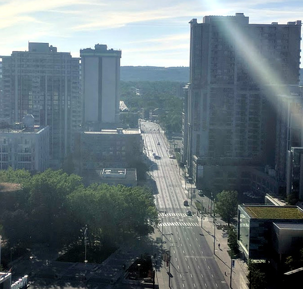Main Street West during evening rush hour, view from DPAI office