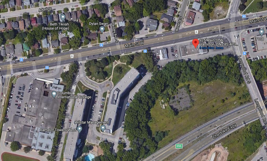 925 Main Street West and 150 Longwood Road South (Image Credit: Google Maps)