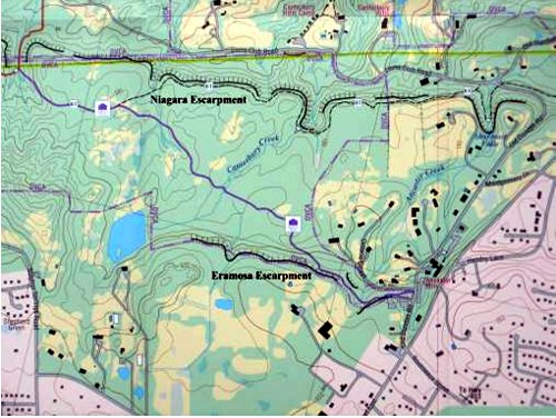 Figure 2. Map of the northern part of Ancaster, showing the location of the Niagara and Eramosa escarpments. The old quarries were located along the edge of the Eramosa escarpment on both sides of the present Wilson St (Highway #2).