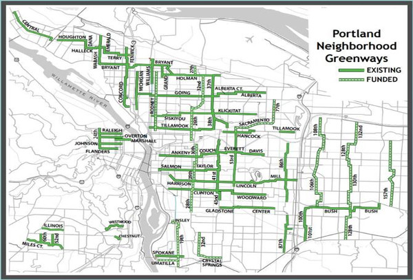 Map: neighbourhood greenways in Portland, Oregon