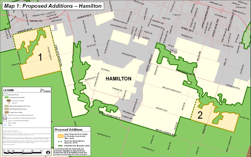 Proposed Hamilton additions to the Greenbelt