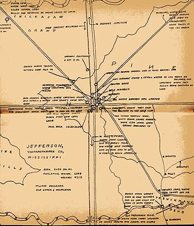 Map from Faulkner's Absolom, Absolom