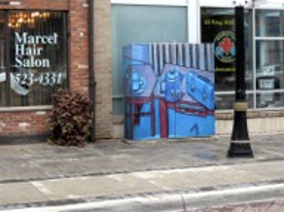 Reproduction of painting by Alfred Joyce on utility box, King William Street