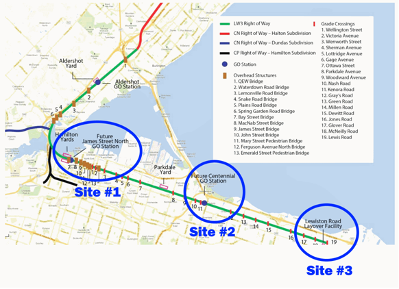 Active Hamilton GO construction sites (annotated version of Metrolinx diagram)