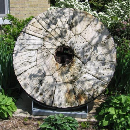 Figure 7: Millstone mounted outside the museum in Brantford. The original mill has been demolished.