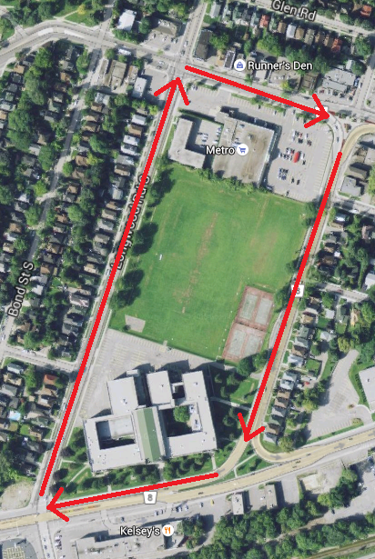 Proposed de-facto roundabout on Main, Longwood, King and Paradise (Image Credit: Google Maps)