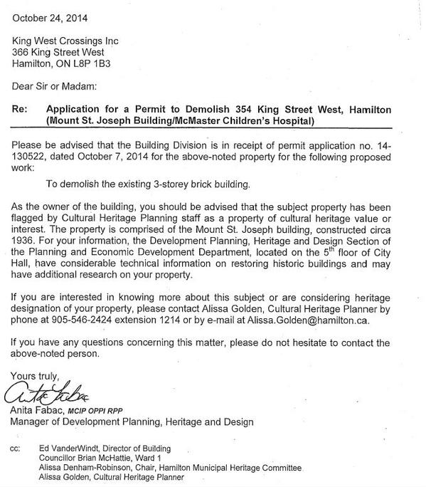 Letter from Anita Fabac, Manager of Development Planning, Heritage and Design to King West Crossings Inc
