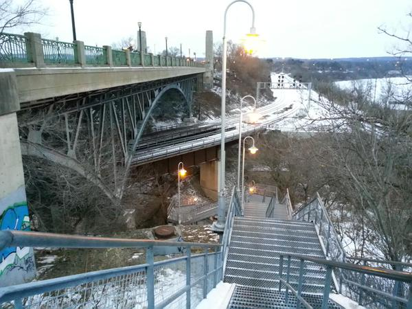 York Boulevard High Level Bridge and stairs to Waterfront Trail