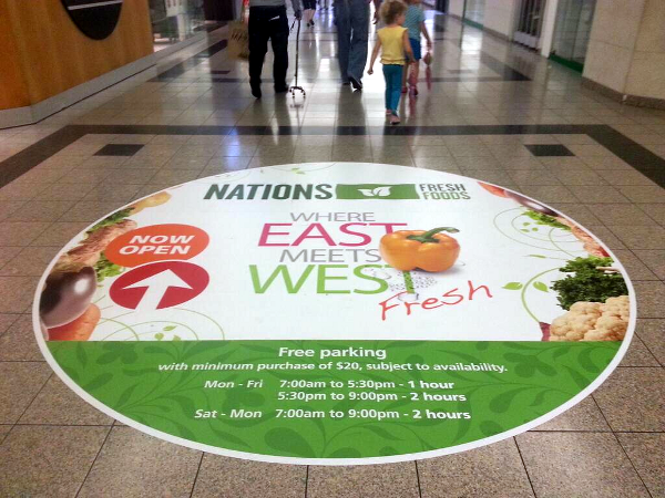 Nations Fresh floor sign inside Jackson Square King and James entrance