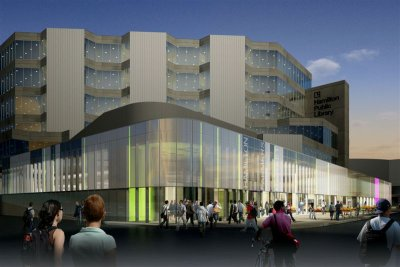 Rendering of renovated Farmers' Market and Central Library: another view (click the image to see