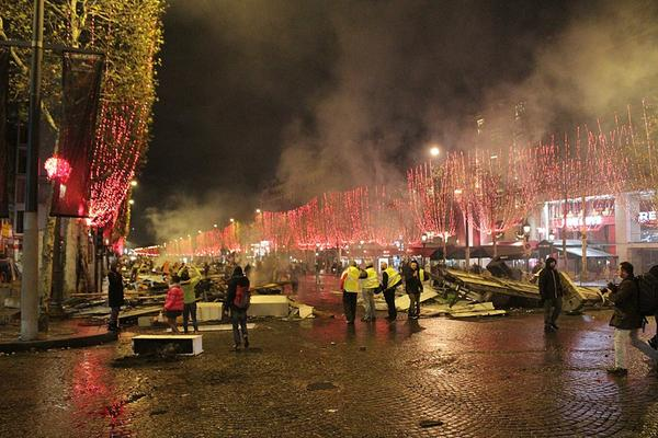 Aftermath of a Gilet Jaune riot Saturday 25 November 2018 on the Champs Élysées in Paris. (image Credit: L. Nicollet)