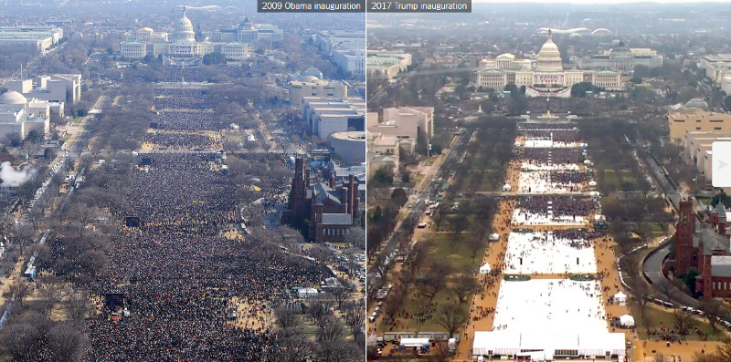 2009 Obama Inauguration vs 2017 Trump Inauguration (Image Credit: New York Times)