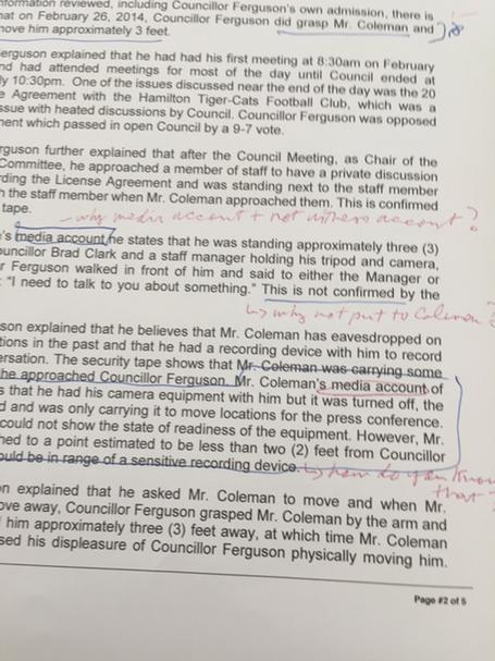Andre Marin's notes on Basse's report, page 2 of 5