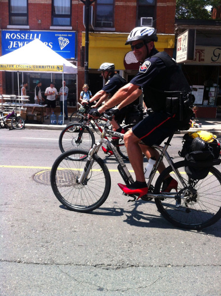 Bicycle officers, fresh from Walk A Mile in Her Shoes