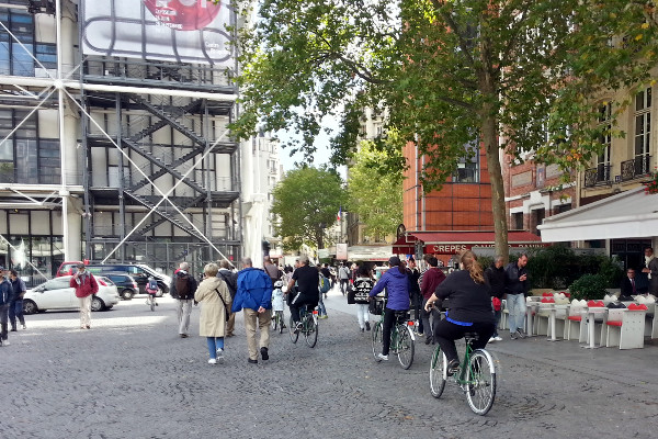 Cycling in pedestrian plaza behind Centre Pompidou