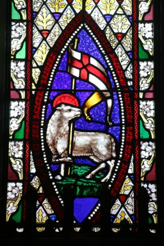Fig. 9. Paris, St James's Anglican Church, E window, central lancet, detail of Agnus Dei.