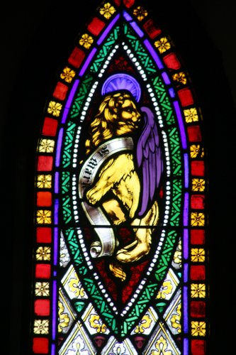 Fig. 10. Paris, St James's Anglican Church, east window, N lancet, detail, Lion of St Mark.