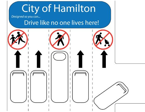 Sign by Paul Sousa: City of Hamilton - Designed so you can drive like no one lives here!