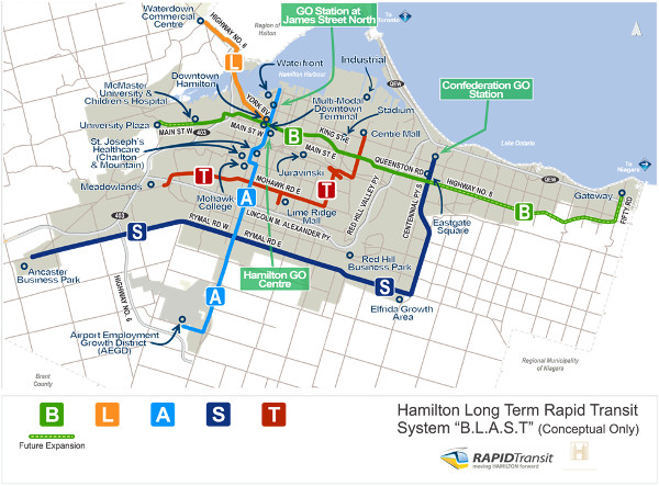 Figure 4: Hamilton's long term rapid transit plan for the 'BLAST' network