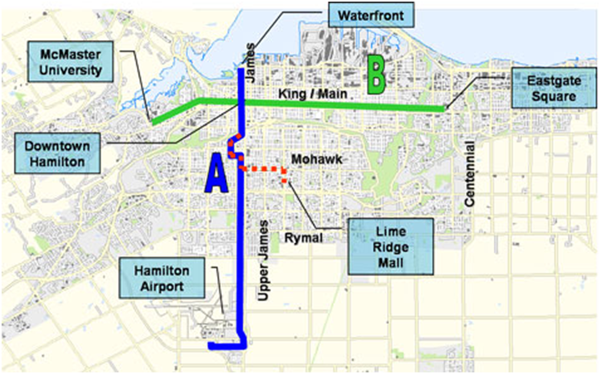 Figure 2: Original proposed rapid transit corridors (Mackenzie 2008)