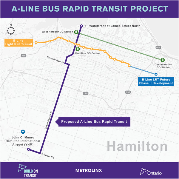 Figure 3: Proposed BRT A-Line (in purple) with LRT B-Line
