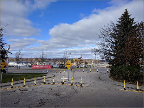 Physical barriers at Hughson and Guise allow walking and cycling but prevent cut-through driving