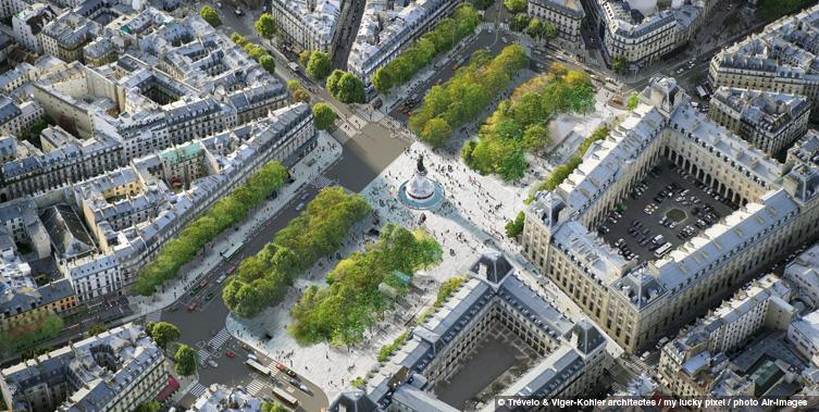 Rendering of two-way conversion at Place de la Republique (Image Credit: Trévelo et Viger-Kohler Architects)