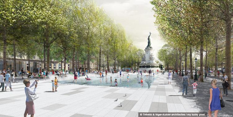 Ground level at Place la Republique, looking a bit like Gore Park (Image Credit: Trévelo et Viger-Kohler Architects)