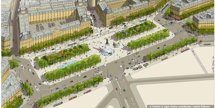 Place de la Republique, 'Toward a better sharing of public space' (Image Credit: Trévelo et Viger-Kohler Architects)
