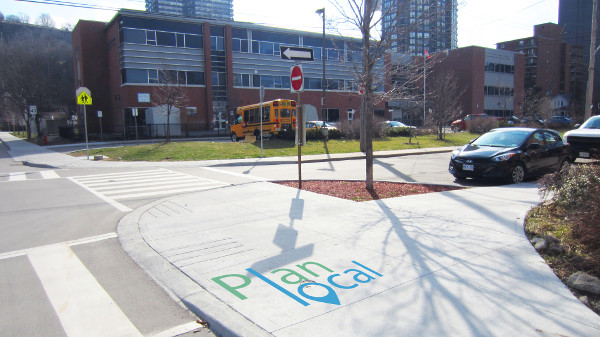 New sidewalk bumpout at Forest and Ferguson near Queen Victoria School