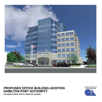 Proposed office tower on James St. North at the Hamilton Port Authority administration office (click the image to view full-size)