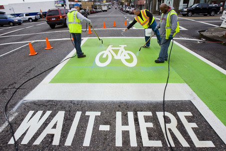 Bike box in Portland (Image Credit: The Record)