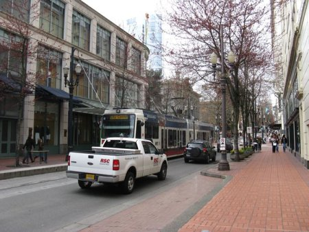 Portland Light Rail with streetscaping and wide sidewalks