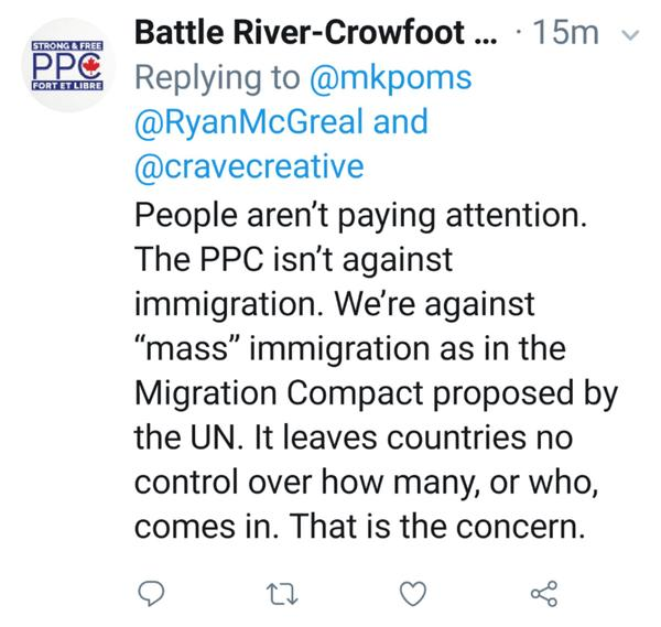 Racist, paranoid reply from PPC supporter