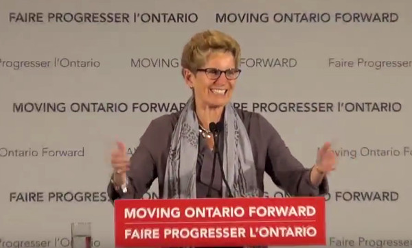 Ontario Premier Kathleen Wynne at Hamilton LRT funding announcement (Screen capture from video by The Public Record)