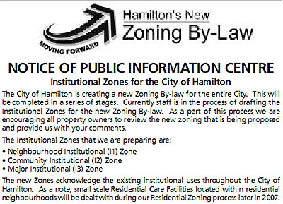 Public Announcement of Zoning By-Law change that automatically rezoned institutional properties to single family residential once closed