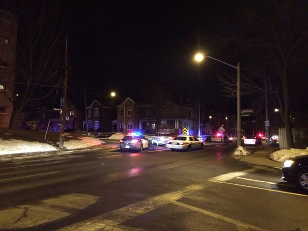 Police cruisers at the site of a collision at Queen and Herkimer, March 7, 2014 (RTH file photo)